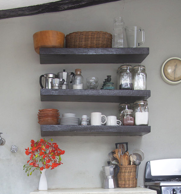 Wood Wall Kitchen Shelving Decor For Herbs
