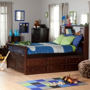 Wooden Trundle Bed In Dark Hues Modern Kid's Bedroom Design