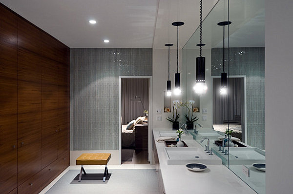 Wooden Cabinets Bench And Interesting Lighting In A Modern Bathroom