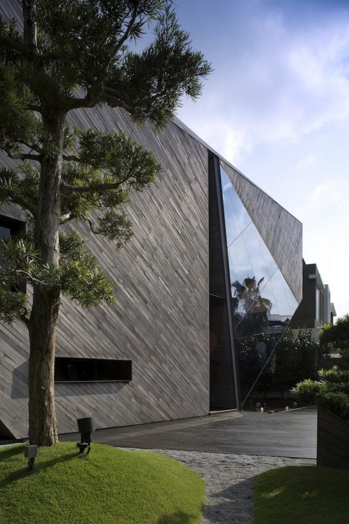 Wooden Cladding Exterior Design Ang Triangle Glass Cut