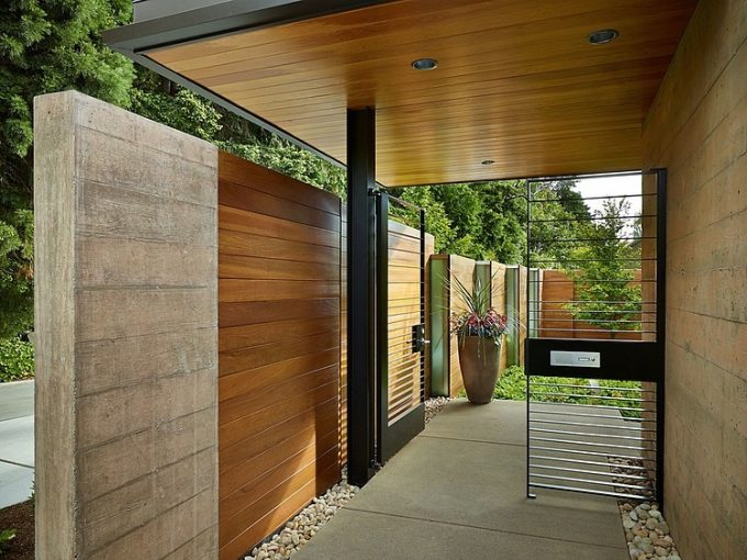 Wooden Fence And Concrete Beautiful Wood House