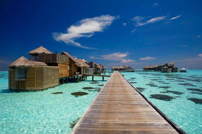 Wooden Jettis Way To The Floating Villa Luxury Private Island Resort In Maldives