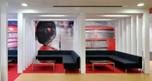 Beautiful British Inspired Rackspace Office Design With British Bus Wall Decals