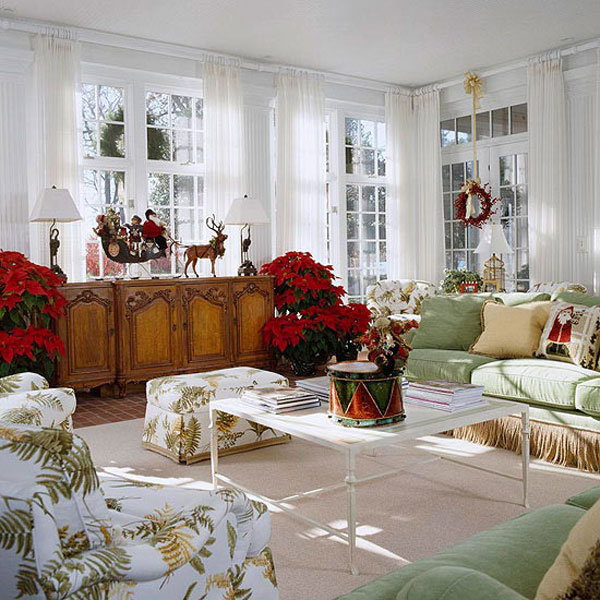 Christmas Living Room Decoration In Traditional House Design