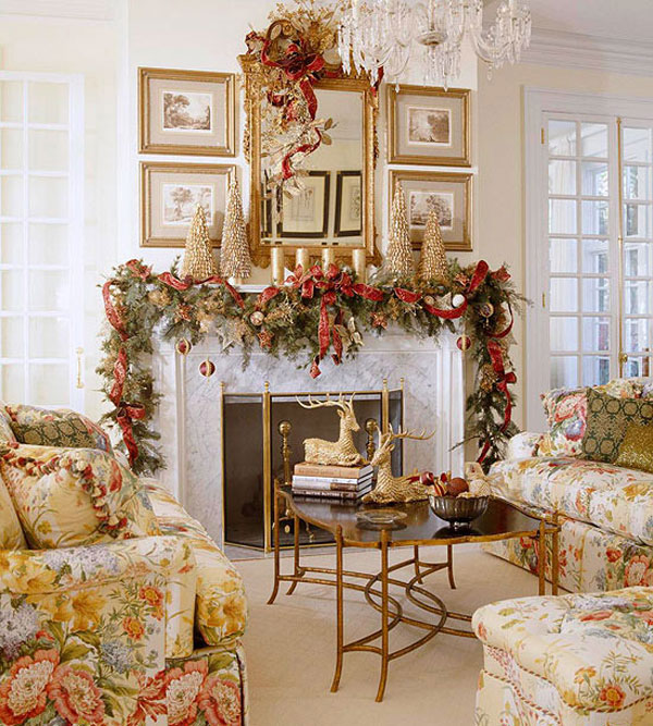 Christmas Living Room With Lovely Christmas Fireplace Mantle And Golden Christmas Tree