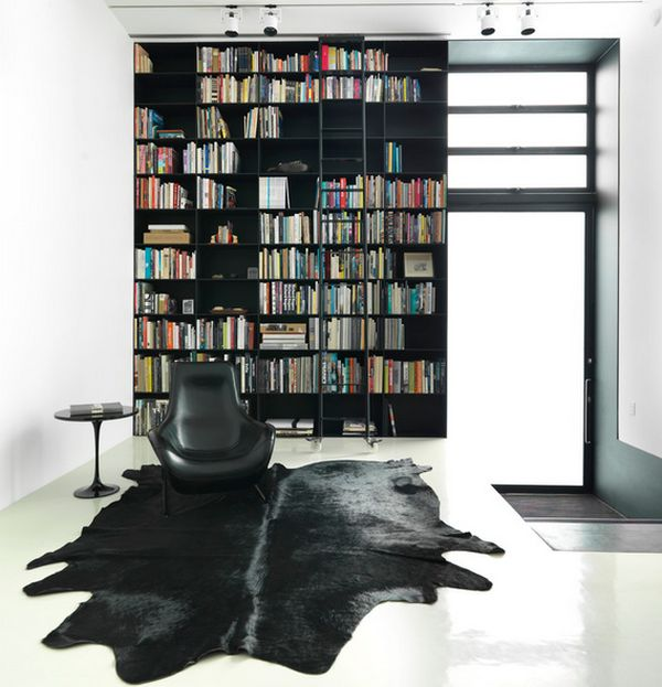 Contemporary Library Room With Saarinen Side Table In Black