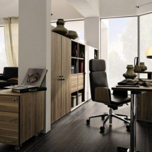 Elegant Home Office With Wooden Palette Floor And Formal Office Furniture