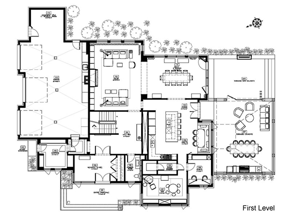 First Level Plan Of Two Story House Design