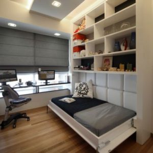 Horizanatal Murphy Bed With Modern Home Office For Modern Bedroom Design