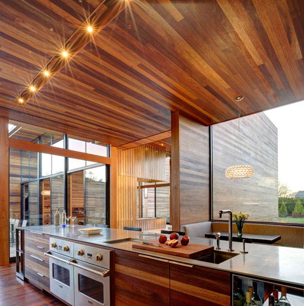 Modern Wood Kitchen With Picture Rail Lighting And Wood Palette Ceiling Design