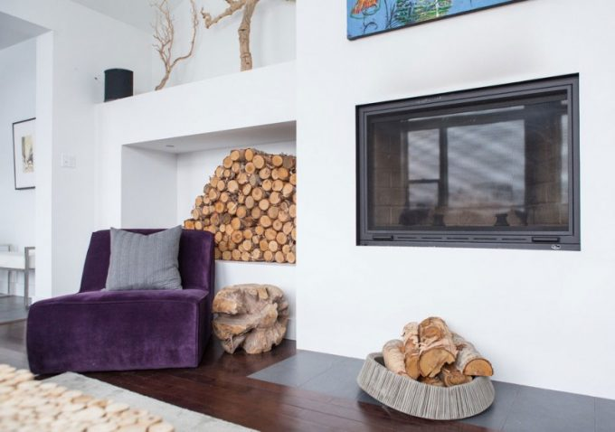 Purple Side Fireplace Chair With Wood Storage