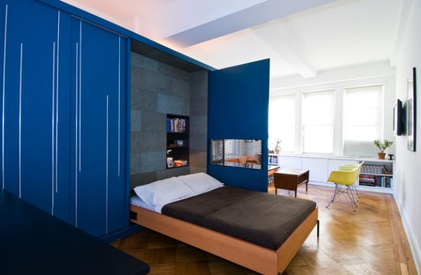 Space Saving Bed And Blu Cabinets Contemporary Small Space Bedroom