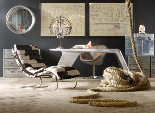 Vintage Lounge Room With Lounge Chair Dark Wall And Rope
