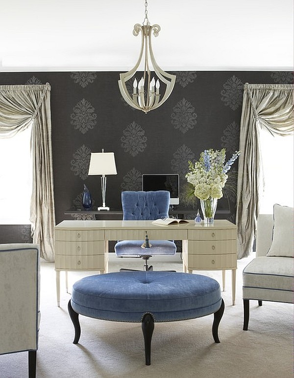 Artistic Design For A Home Office With A Blue Velvet Chair And Ottoman In French Style