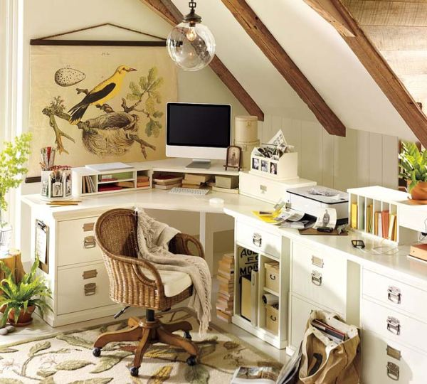 Attic Work Space Design With Corner Desk And Traditional Style