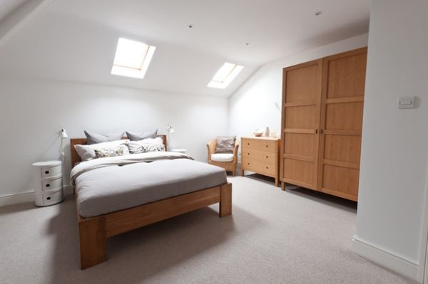 Awesome Attic Bedroom With Side Bed Table