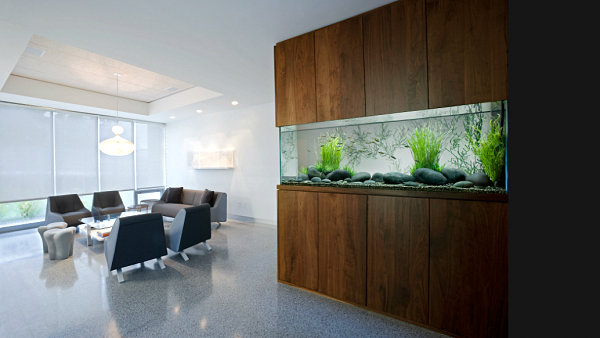 Awesome Modern Living Room With Wall Aquarium With Modern Style