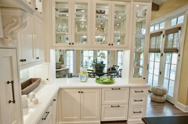 Awesome Sleek Glass Front Kitchen Cabinets Set In A Wooden Frame Classic Cabinet Design