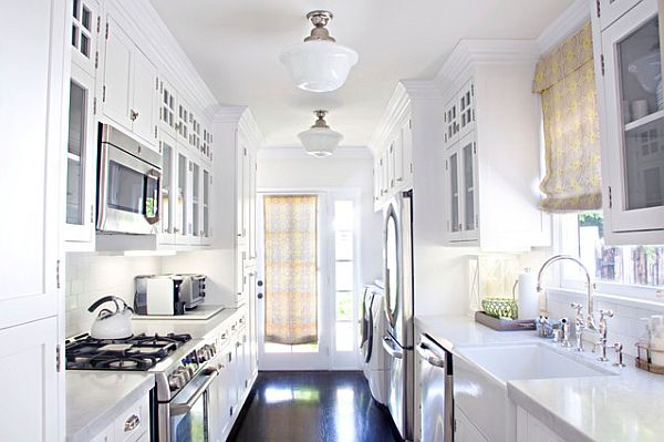 Awesome Traditional White Galley Kitchen And White Kitchen Cabinet And Storage