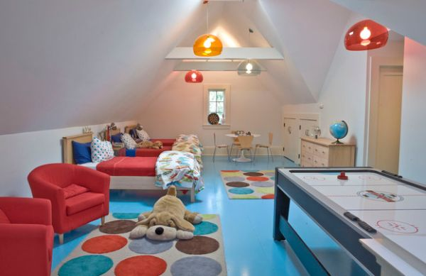 Beautiful Colorful Kids Room Uses Multiple Colorful Pendant Lights