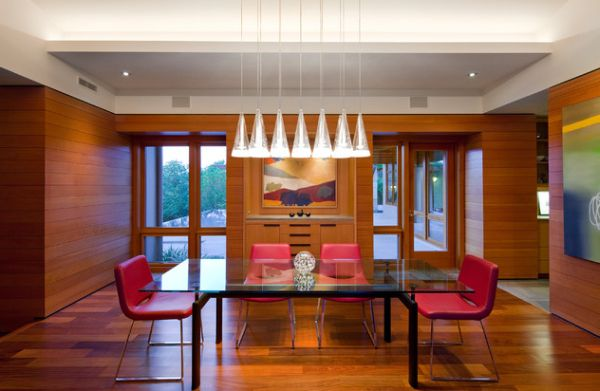 Beautiful Fucsia Pendants By Achille Castiglioni For Flos Above The Dining Table