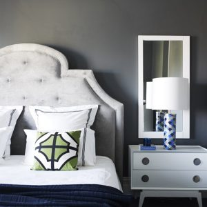 Beautiful Master Bedroom Details With White Sidebed And Mirror