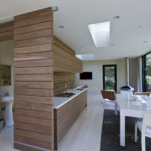 Beautiful Modern Wood Kitchen With Exposed Wood Wall Decor In Countertops