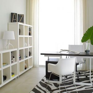 Beautiful Bright Home Office With Natural Light And White Furniture