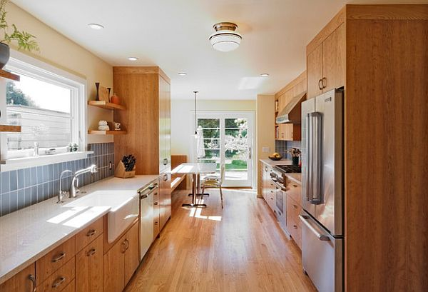 Beautiful Hall Of Galley Style Kitchen With Wood Cabinetry