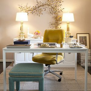Beautiful Home Office With A Feminine Touch And Minimalist Furnishing