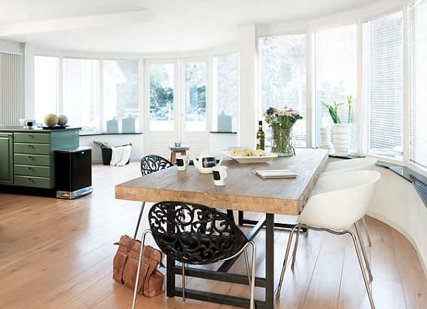 Beautiful Wood Beam Kitchen Table With Plastic Chair