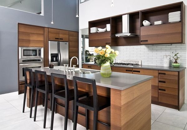 Chocolate Color Kitchen Cabinet Design With Steel Countertops