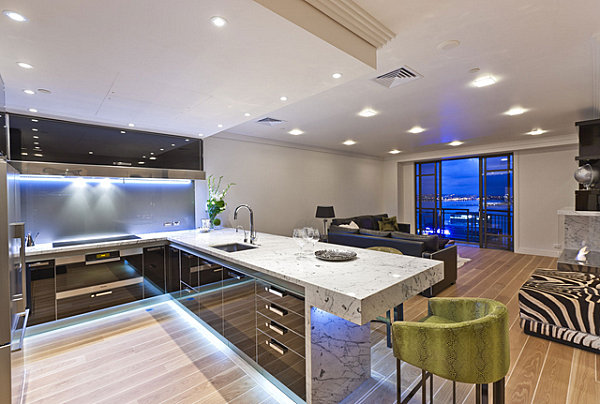 Clean Neon Lighting Under Cabinets In A Contemporary Kitchen Modern Kitchen Decor Ideas