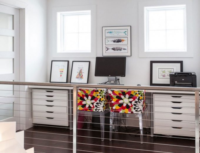 Colorful Chair In Modern Home Office With Storage