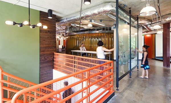 Concrete Flooring Orange Hand Rail Best Office Design