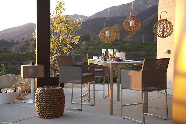 Contemporary Outdoor Patio Furniture With Boxy Outdoor Dining Table And Chairs