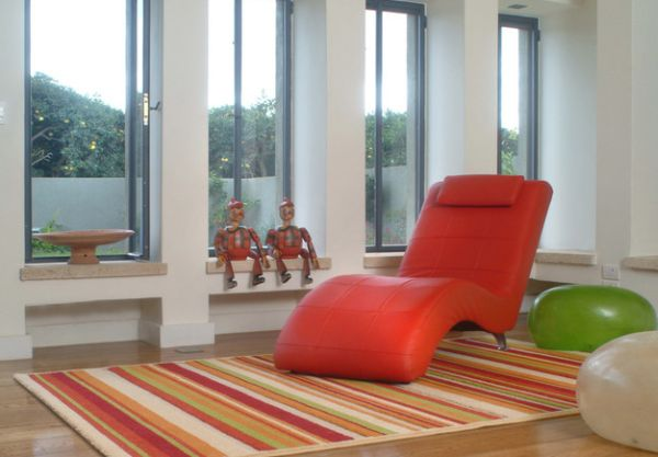 Cool Colorful Chaise Lounge In Red For A Fun And Playful Look With Stripes Red Rugs
