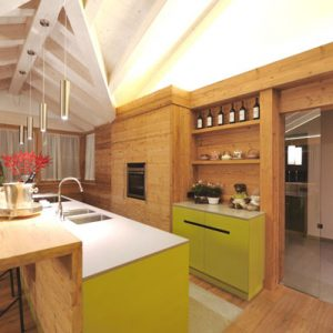 Cool Modern Wood Kitchen With Yellow Cabinet And Exposed Ceiling Beams