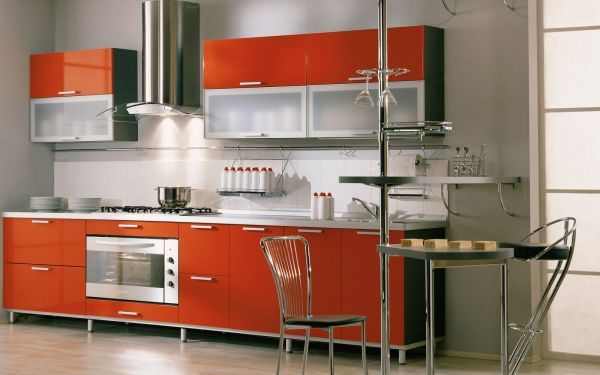 Cool Orange Modern Kitchen With Stylish Glass Cabinets Colorful Cabinet Trends