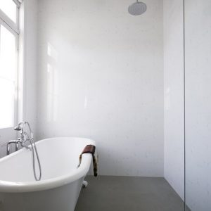 Cool Simple Bathroom With Highstand Tub And Rain Shower