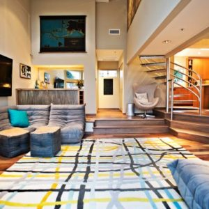 Cool Toga In A Light Tinge Of Blue In Cozy Living Room Design
