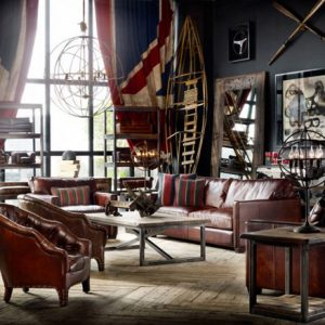 Cool Vintage Room Design With United Kingdom Curtain And Leather Couch