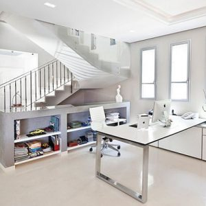 Cool Bright White Home Office With Minimalist Interior