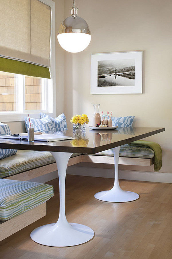 Cool Laminated Kitchen Table With Soft Bench