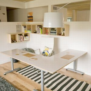 Corner Home Office With L Shape Desk And Partition For Modern Home Office Design