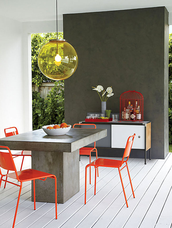 Creative Stone Dining Table With Orange Chair For Outdoor Furniture Ideas