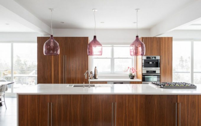 Decorative Purple Pendant Lamps Above The Kitchen Islands