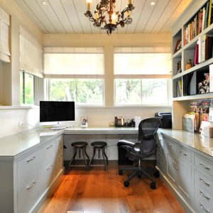 Drawers And Wall Shelving In A Traditional Home Office