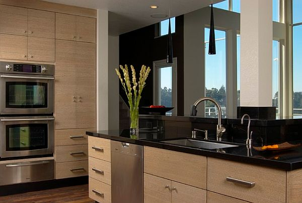 Elegant Kitchen Design With Black And Chocolate Color And Cool Cabinetry Design
