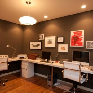 Formal Color And Beautiful Lighting For Modern Home Office Design